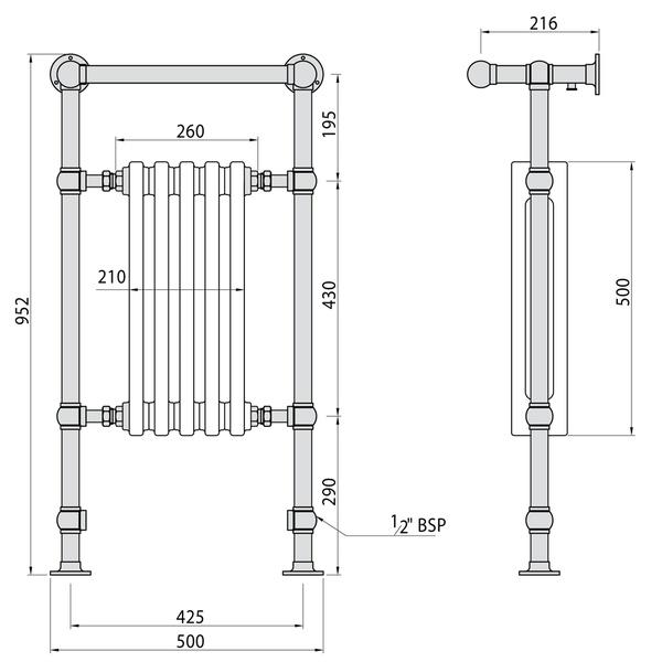 Elegance Towel Warmers: Abacus Elegance Half Sovereign Towel Warmer 960 X 500