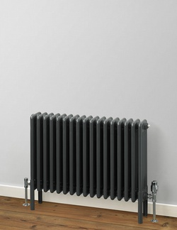 MHS Rads 2 Rails Fitzrovia Horizontal Anthracite 4 Column Radiator 600x806mm FAN-4-0600-17