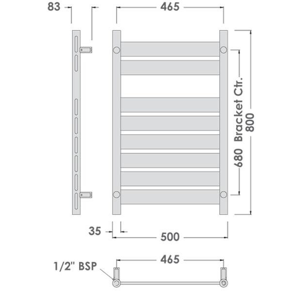 Elegance Towel Warmers: Abacus Direct Elegance Plana Towel Warmer 800 X 500 Anthracite