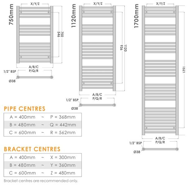 Elegance Towel Warmers: Abacus Direct Elegance Linea Towel Warmer 1120 X 400 White