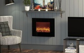 BeModern Quattro Wall Mounted Curved Electric Fire (Black Glass) 143951
