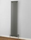 MHS Rads 2 Rails Battersea Single Panel Vertical Radiator Textured Grey 1800x368mm