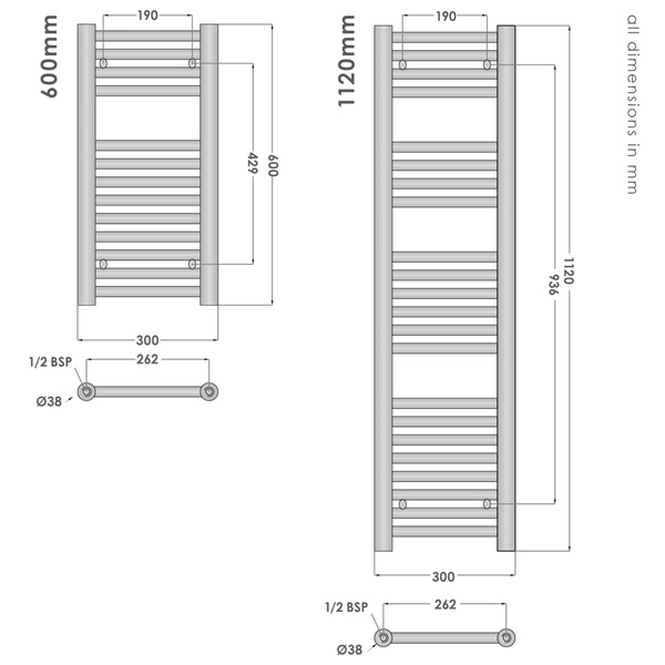 Elegance Towel Warmers: Abacus Direct Elegance Micro Linea Towel Warmer 1120 X 300