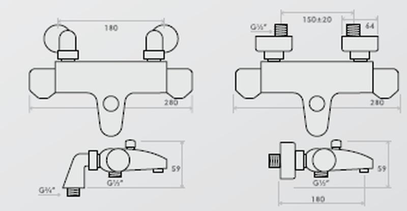 inta plus thermostatic bath shower mixer 922245cpb
